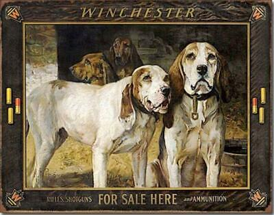 Winchester For Sale Here Blood Hounds Dogs Nostalgic Tin Metal Sign Made In USA