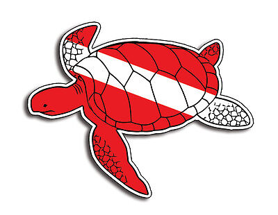 Sea Turtle Scuba Dive Sticker Diver Down Decal Cup Car Truck Window Bumper Flag