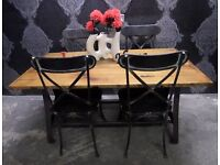 Stunning NEW Rustic 5' Industrial Metal & Wood Dining Table - UK Delivery