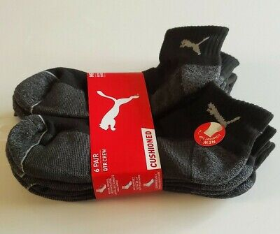 Puma Cushioned  6-Pair Men's Quarter Crew Socks  Black/Gray