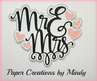 CRAFTECAFE MINDY WEDDING MARRIAGE MR MRS premade paper piecing TITLE scrapbook