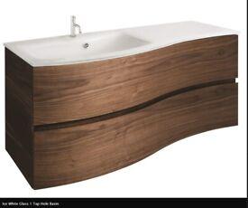 Crosswater Svelte American Walnut Vanity Unit with Glass Basin *New* RRP £1295