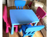 ikea Mammut childrens table and chairs