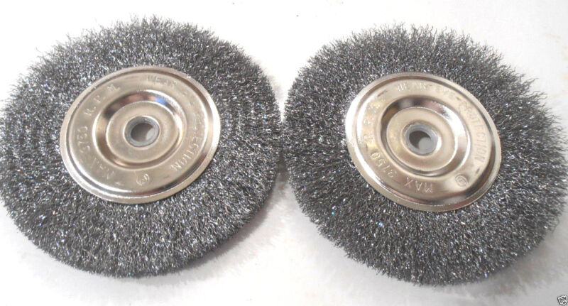 """2 PC. 6"""" INCH x 5/8"""" INCH WITH 1/2"""" INCH  ADAPTER  WIRE WHEEL BRUSH"""