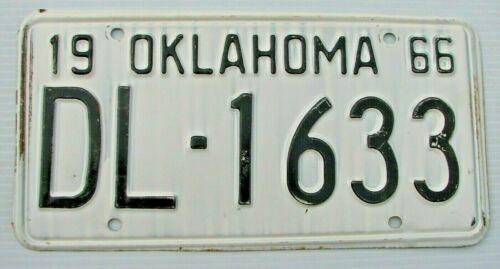 "OKLAHOMA 1966 AUTO PASSENGER LICENSE PLATE "" DL 1633 "" OK   ROUTE 66  ORIGINAL"