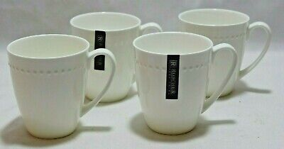 Roscher Bone China Coffee Mugs White Hobnail Set of Four New (Four Coffee Mugs)