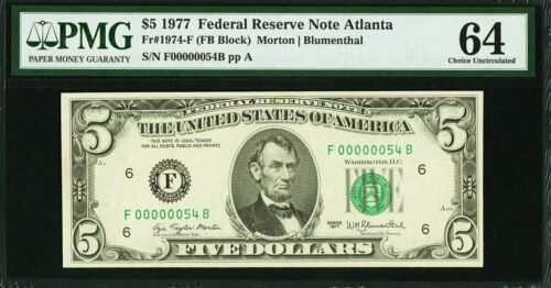 Fr.1974-F 1977 $5 Low serial 00000054 FEDERAL RESERVE NOTE PMG 64