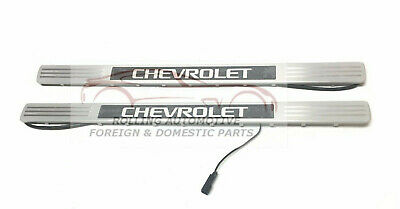 Chevrolet Illuminated Door Sill Plates Brushed Stainless Steel Front Set New OEM