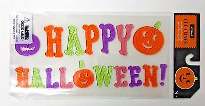 Happy Halloween with Pumpkins Window Gel Stickers Cling Decor classroom  - Halloween Pumpkin Decorating Stickers