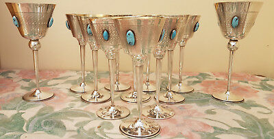 Set of 12 elegant antique silver plated wine goblets with turquoise stone