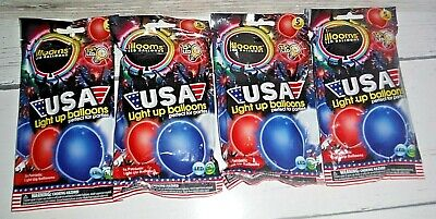 White Light Up Balloons (20 illooms LED Light-up Red White Blue Balloons)