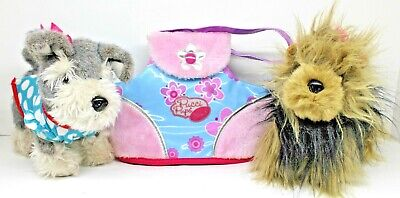 Lot of 2 Plush Dogs Mini Schnauzer/Yorkie with Carrying -