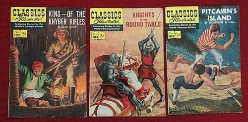 Classics Illustrated 107 HRN 108, 108 HRN 108, 109 HRN 110 1953 Gilberton
