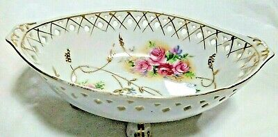 Antique White Footed Bowl (Antique Pierced Footed Bowl, Pink Roses/White Porcelain - Crossed Arrows Mark)