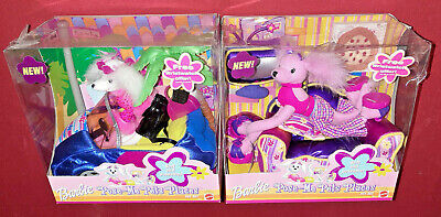 Lot of 2 Barbie Pose Me Pets Places Pet Set Family Room and Convertible NIB