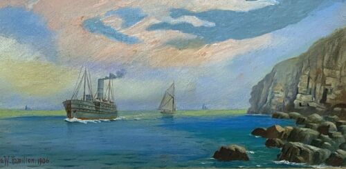 Ira Hamilton well known Maine Artist Original Oil Maritime Painting, Framed