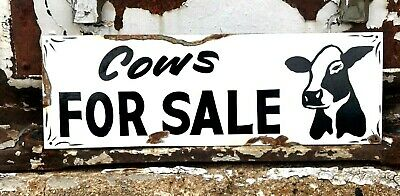 Vintage Ranch Primitive Rusty COWS FOR SALE Barn Stable Hand Painted Farm sign