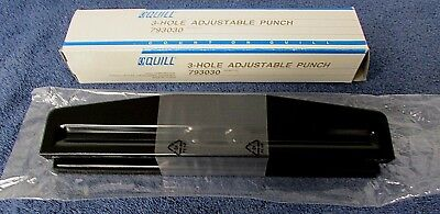 Quill 3-hole Adjustable Punch 10 Paper Sheet Capacity Black 793030 New Ar30