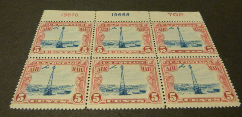 Us C11 High Flying 1928 Beacon Plate Block Of 6 Mint Nh Og 19670 19668 Top