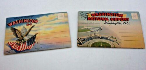 Pair of Vintage Postcard Souvenir Folders of Washington DC & National Airport