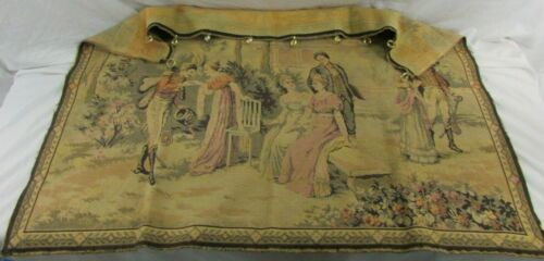 """Vintage Tapestry Wall Hanging Victorian Garden Party 50"""" x 37.5"""""""