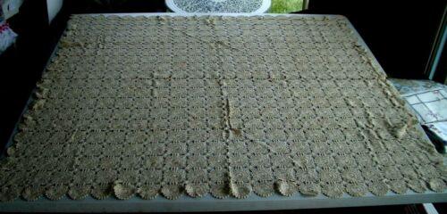 """Hand crochet tablecloth rectangular 52 x 58 """", golden beige"""