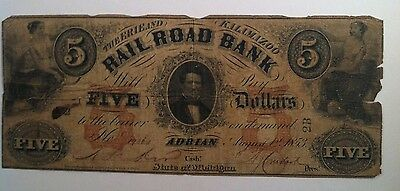1853 $5 Erie and Kalamazoo Rail Road Bank Adrian Michigan