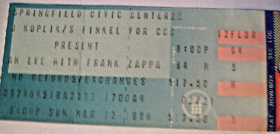 Frank Zappa 1988 Concert Ticket Stub Springfield Civic Center Mass 3/13/1988