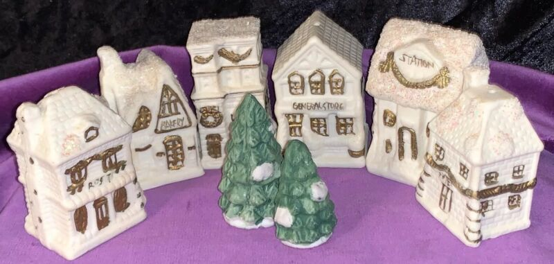 Lot Of 8 WHITE/GOLD CERAMIC CHRISTMAS VILLAGE W/TREES ORNAMENTS LIGHT COVERS