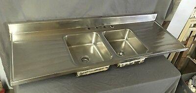 "Vtg Mid Century 72"" Stainless Steel Double Basin Kitchen Sink 620-18E"