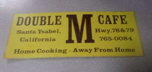 Vtg Rare Advertising Bumper Sticker Decal DOUBLE M CAFE Santa Ysabel CA