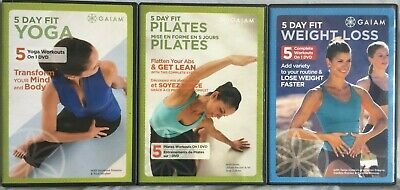 3 Gaiam workout DVD lot 5 Day Fit Weight Loss Yoga Pilates Ana Caban A.M. P.M.