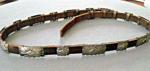 Southwestern Native American Sterling Silver Sunburst Etching Conchos Hatband