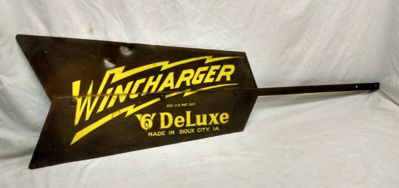 Antique Wincharger 6V Deluxe Windmill Tail Made In Sioux City Iowa Farm Sign Old