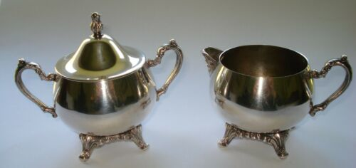 Vintage/Antique Oneida Silverplate Footed Creamer and Sugar Bowl Set Lidded