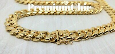 Mens Miami Cuban Link Chain HEAVY 14k 18K Gold Plated Stainless Steel Hip Hop Chains Mens Gold Chain