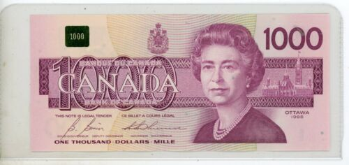 1988 Recalled $1000 Canadian Note Serial Number EKA2453711