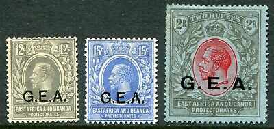 Tanganyika 1921 wmk SCA 12c, 15c & 2r SG 63, 64 & 66 hinged m (cat. £76) faults