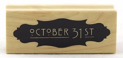 October 31st Wood Mounted Rubber Stamp Inkadinkado NEW halloween spooky party ar - Halloween Party October 31