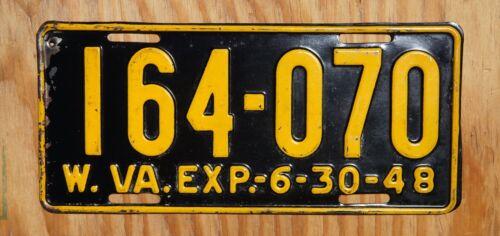 1947 1948 West Virginia License Plate