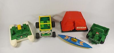 Year Fisher Price Adventure Series 1970's Lot Dune Buggy Pontoon Boat Tent ++