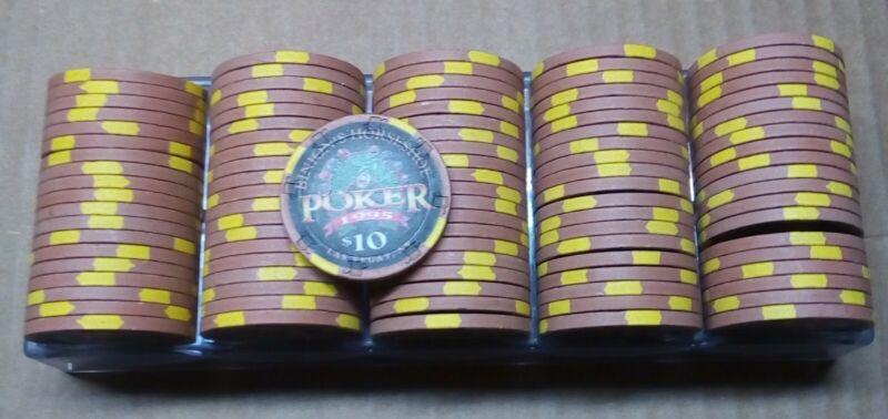 Rack of $10 Binions Horseshoe Club 1995 POKER Casino Chips