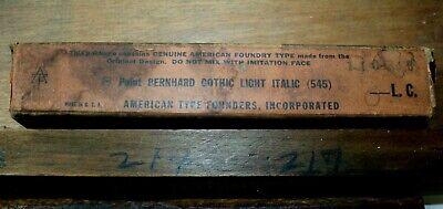 Nos Atf 8pt. Bernhard Gothic Light Italic Lower Case No. 545 Letterpress Type