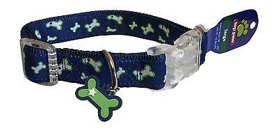 "Top Paw Dog Collar Size LARGE L Neck 18"" - 22"" Bone Charm Stars 04L"