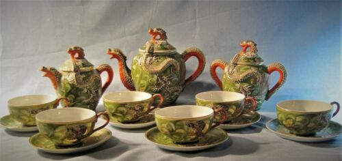 Chinese Antique Tea Set 21 Piece Dragon Hand Made Watermark Rare Color Excellent