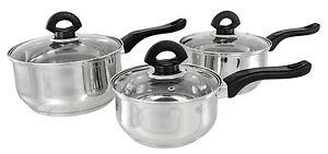 Set of 3 Buckingham Deep Induction Saucepans/Cookware/Pan Set with lids