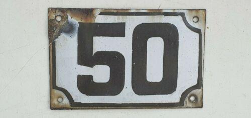 Genuine ISRAELI vintage enamel porcelain house number 50 street House sign # 50