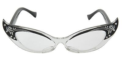 Vintage Cat Eye Glasses Black Costume Eyeglasses Rhinestone Retro Old 50s 60s
