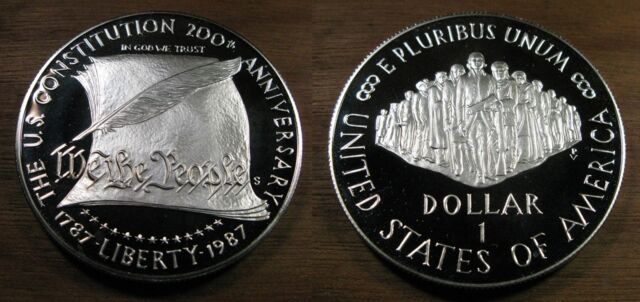 1987 US Constitution Bicentennial Silver Proof Commenorative Coin