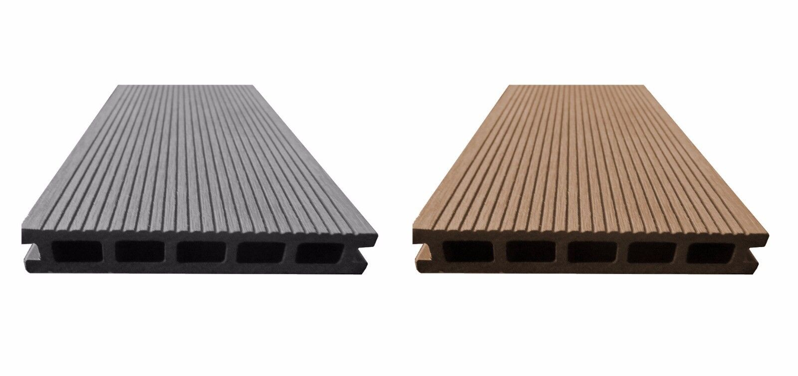 BPC Komplettset Terrassendielen Anthrazit O. Braun Komplettbausatz Holz WPC